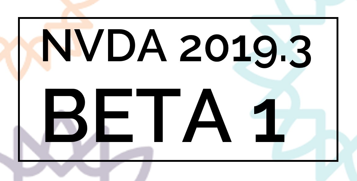 "Text reading ""NVDA 2019.3 BETA 1"" with sunburst background."