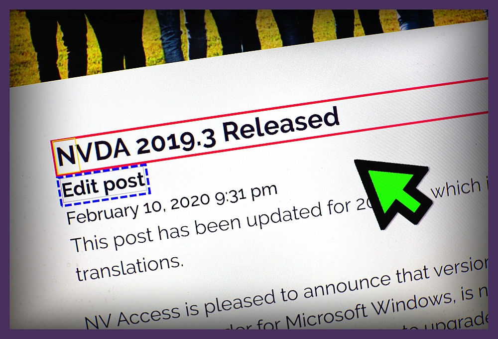 Image of NVDA 2019.3 release announcement showing text highlighted using new Focus Highlight feature