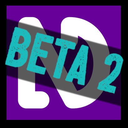 "Text ""BETA 2"" in turquoise over a dark background on top of the white on purple NVDA logo."