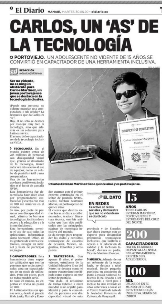 """Carlos, un 'as' de la technologia (""""Carlos, an 'ace' of technology"""" from El Diario Newspaper, 30/06/2020"""