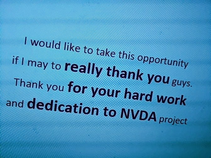 "Text ""I would like to take this opportunity if  Imay to really thank you guys.  Thank you for your hard work and dedication to NVDA project"" in purple on turquoise."
