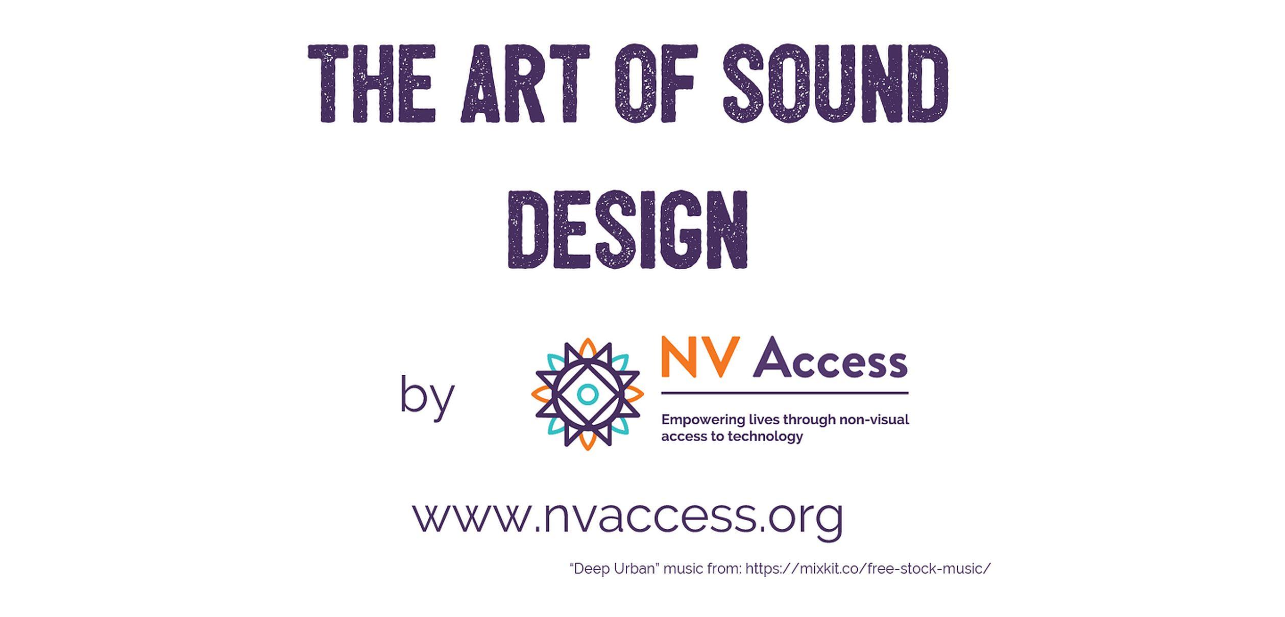 The Art of Sound Design intro screen