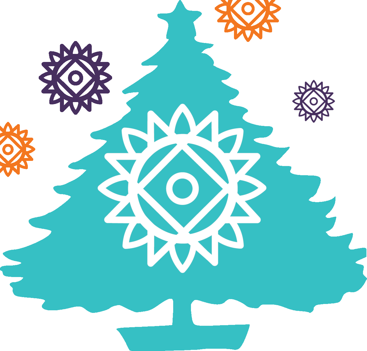 Turquoise Christmas tree with white NVDA sun logo in centre.  Purple and Orange NVDA sun logos around outside