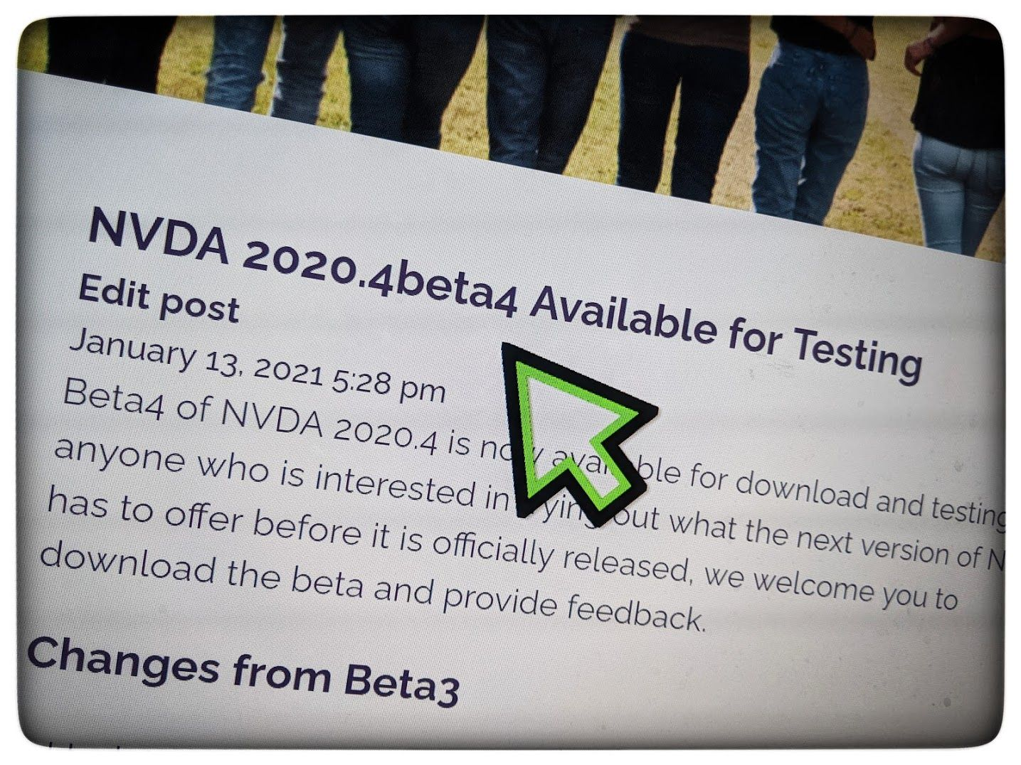 NVDA 2020.4beta4 release announcement screenshot