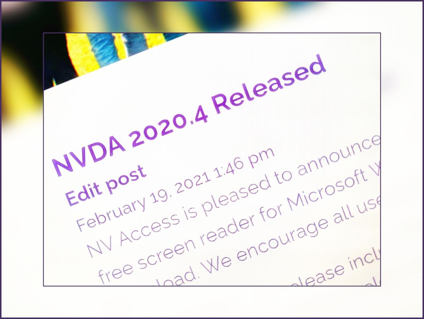 Image of 2020.4 release announcement, tilted on blurred background