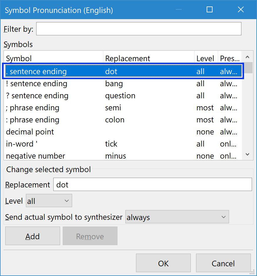 NVDA Symbol Pronunciation dialog