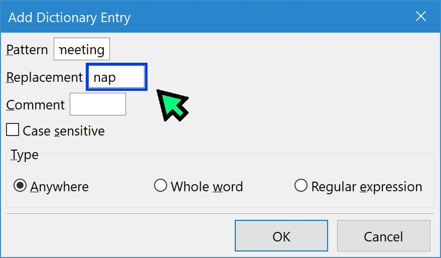 """Speech dictionary entry replacing """"meeting"""" with """"nap"""""""