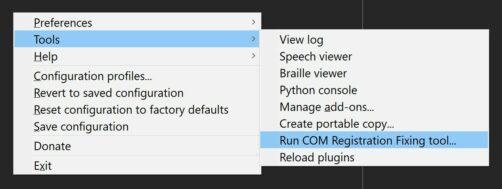 NVDA's COM Registration Fixing Tool menu item